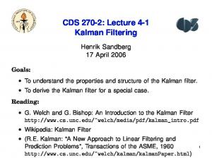 CDS 270-2: Lecture 4-1 Kalman Filtering
