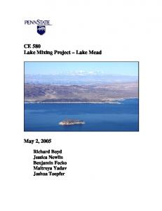 CE 580 Lake Mixing Project Lake Mead