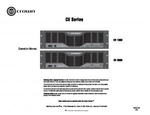 CE Series CE Operation Manual CE 2000
