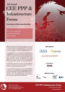 CEE PPP & Infrastructure Forum. Events Ltd. 3rd Annual. Investing in future partnerships. CEE PPP & Infrastructure Forum