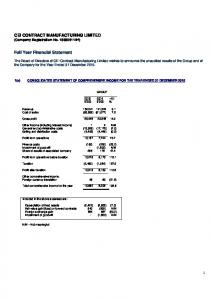 CEI CONTRACT MANUFACTURING LIMITED (Company Registration No H) Full Year Financial Statement