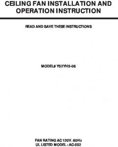 CEILING FAN INSTALLATION AND OPERATION INSTRUCTION