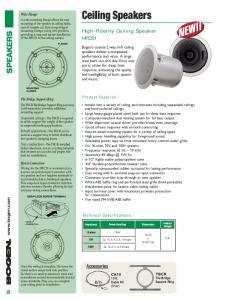 Ceiling Speakers. High-Fidelity Ceiling Speaker HFCS1