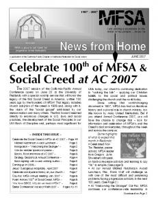 Celebrate 100 th of MFSA & Social Creed at AC 2007