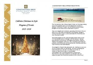 Celebrate Christmas in Style Program of Events
