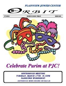Celebrate Purim at PJC!