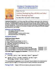 CELEBRATE THANKSGIVING DAY LESSON PLAN FOR GRADES 3 6