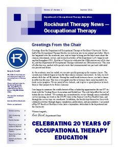 CELEBRATING 20 YEARS OF OCCUPATIONAL THERAPY EDUCATION. Rockhurst Therapy News Occupational Therapy. Greetings From the Chair