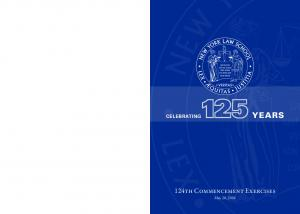 CELEBRATING YEARS. 124th Commencement Exercises