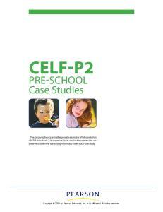 CELF-P2. PRE-SCHOOL Case Studies