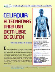 CELIAQUIA: ALTERNATIVAS PARA UNA DIETA LIBRE DE GLUTEN