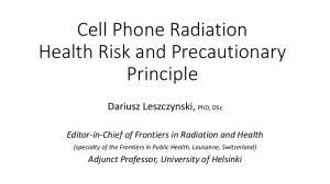 Cell Phone Radiation Health Risk and Precautionary Principle