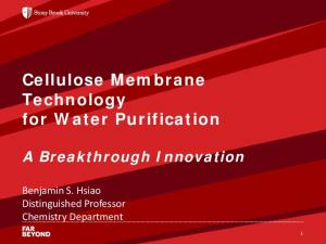Cellulose Membrane Technology for Water Purification