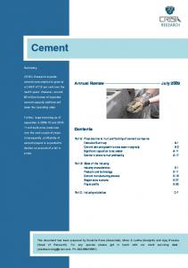 Cement. Annual Review July Contents