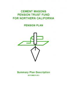 CEMENT MASONS PENSION TRUST FUND FOR NORTHERN CALIFORNIA PENSION PLAN