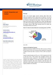 Cement: Perspectives and Outlook