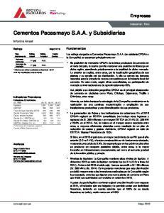 Cementos Pacasmayo S.A.A. y Subsidiarias
