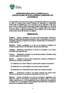 CEMENTOS PORTLAND VALDERRIVAS, S.A. CONVOCATORIA DE JUNTA GENERAL ORDINARIA DE ACCIONISTAS