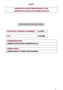 CEMENTOS PORTLAND VALDERRIVAS, S.A