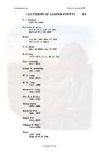 CEMETERIES OF GORDON COUNTY 301-
