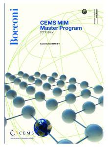 CEMS MIM Master Program