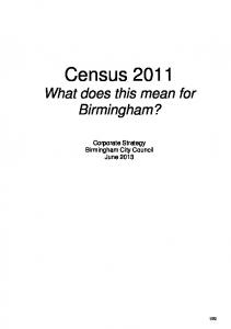 Census 2011 What does this mean for Birmingham?