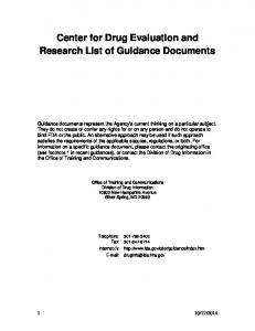 Center for Drug Evaluation and Research List of Guidance Documents