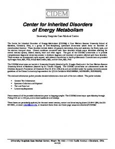 Center for Inherited Disorders of Energy Metabolism