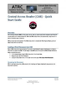 Central Access Reader (CAR) - Quick Start Guide