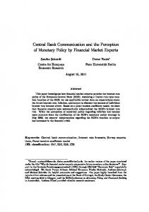 Central Bank Communication and the Perception of Monetary Policy by Financial Market Experts