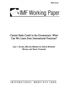 Central Bank Credit to the Government: What Can We Learn from International Practices?