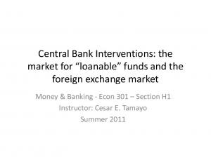 Central Bank Interventions: the market for loanable funds and the. Money & Banking - Econ 301 Section H1 Instructor: Cesar E. Tamayo Summer 2011
