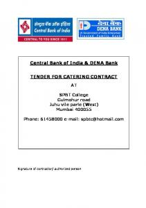 Central Bank of India & DENA Bank TENDER FOR CATERING CONTRACT