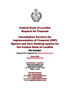 Central Bank of Lesotho Request for Proposal