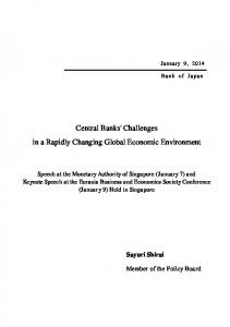 Central Banks' Challenges in a Rapidly Changing Global Economic Environment