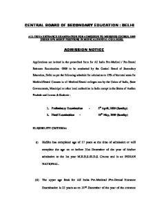 CENTRAL BOARD OF SECONDARY EDUCATION : DELHI ADMISSION NOTICE