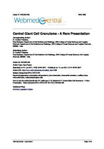 Central Giant Cell Granuloma - A Rare Presentation