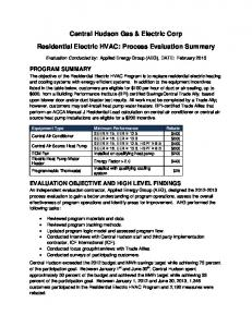 Central Hudson Gas & Electric Corp. Residential Electric HVAC: Process Evaluation Summary