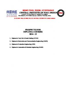 CENTRAL INSTITUTE OF TOOL DESIGN (A GOVT. OF INDIA SOCIETY, MINISTRY OF MSME) BALANAGAR, HYDERABAD , ANDHRA PRADESH, INDIA