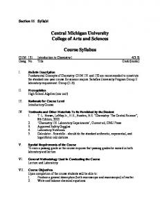 Central Michigan University College of Arts and Sciences. Course Syllabus