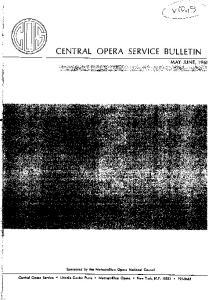 CENTRAL OPERA SERVICE BULLETIN