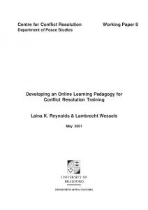 Centre for Conflict Resolution Working Paper 8