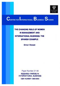 CENTRE FOR INTERNATIONAL BUSINESS STUDIES