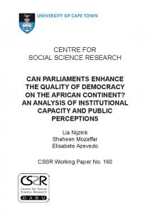CENTRE FOR SOCIAL SCIENCE RESEARCH