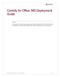 Centrify for Office 365 Deployment Guide