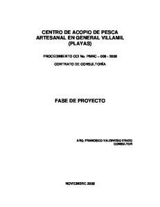 CENTRO DE ACOPIO DE PESCA ARTESANAL EN GENERAL VILLAMIL (PLAYAS) FASE DE PROYECTO
