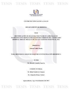CENTRO DE CIENCIAS DE LA SALUD DEPARTAMENTO DE MEDICINA TESIS