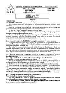 CENTRO DE ESTUDIOS MIRASIERRA. LOGSE: Junio 2009 MATERIA: Historia