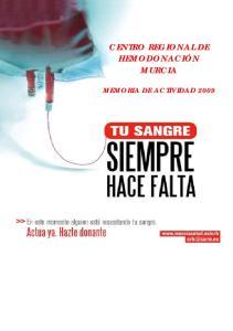 CENTRO REGIONAL DE HEMODONACIÓN MURCIA MEMORIA DE ACTIVIDAD 2009
