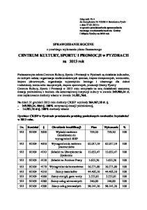CENTRUM KULTURY, SPORTU I PROMOCJI w PYZDRACH za 2013 rok